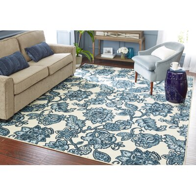 Miriam Arranged Melody Blue/Cream Area Rug Rug Size: Rectangle 5 x 8