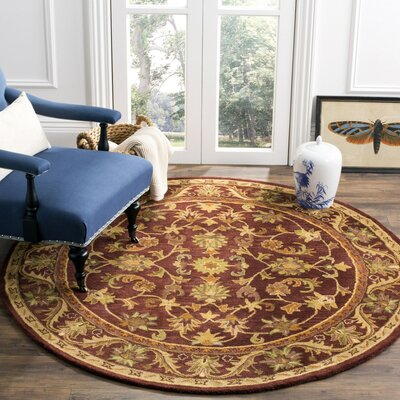 Wine & Gold Area Rug Rug Size: Round 6