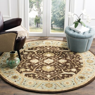 Dunbar Brown/Green Area Rug Rug Size: Round 6