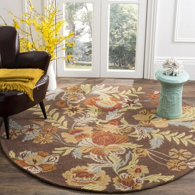 Bradwood Brown Floral Area Rug Rug Size: Round 6