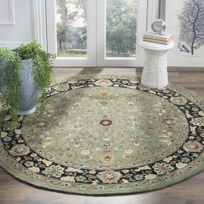 Driffield Hand-Hooked Green/Black Area Rug Rug Size: Round 6 x 6