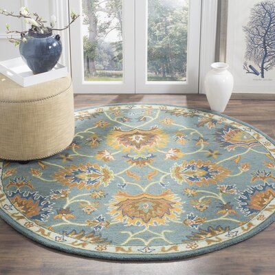 Cranmore Hand-Tufted Light Blue/Yellow Area Rug Rug Size: Round 6