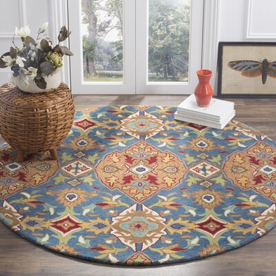 Cranmore Hand-Tufted Brown/Blue Area Rug Rug Size: Round 6