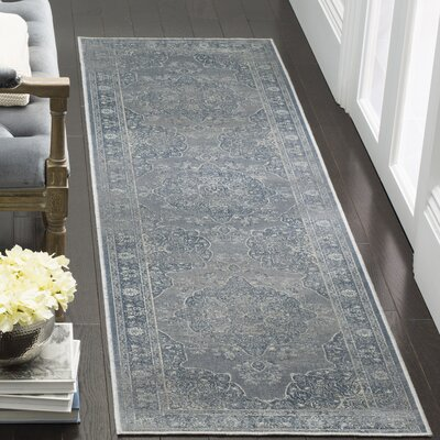 Frith Light Blue / Light Gray Area Rug Rug Size: Runner 22 x 8