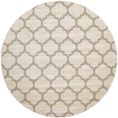 Moore Beige & Tan Area Rug Rug Size: Round 8