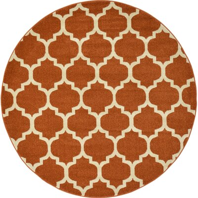 Moore Rust Area Rug Rug Size: Round 6