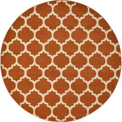 Moore Rust Area Rug Rug Size: Round 8