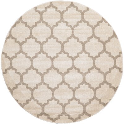 Moore Beige & Tan Area Rug Rug Size: Round 6