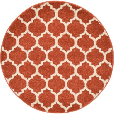 Moore Rust Area Rug Rug Size: Round 33