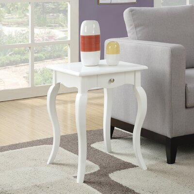 Hobart End Table With Storage Color: White