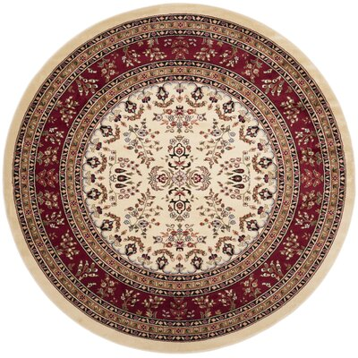 Ottis Ivory/Red Area Rug Rug Size: Round 8