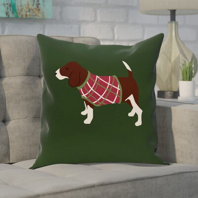 Acropolis Decorative Holiday Print Throw Pillow Size: 16 H x 16 W, Color: Dark Green