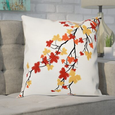 Agawam Flower Print Throw Pillow Color: Orange, Size: 16 H x 16 W