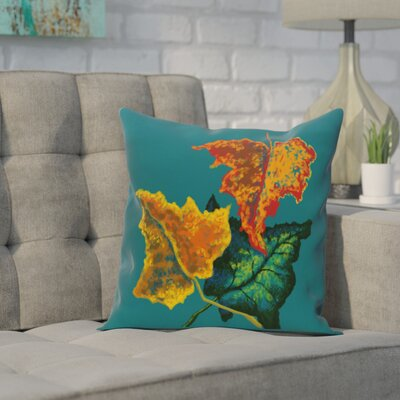 Adele Flower Print Throw Pillow Color: Teal, Size: 18 H x 18 W
