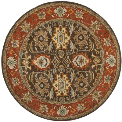 Hebron Brown/Tan Area Rug Rug Size: Round 6'