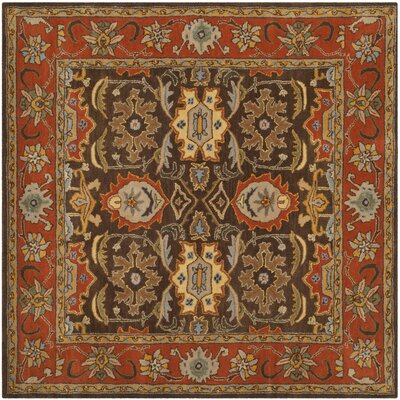 Hebron Brown Area Rug Rug Size: Square 6