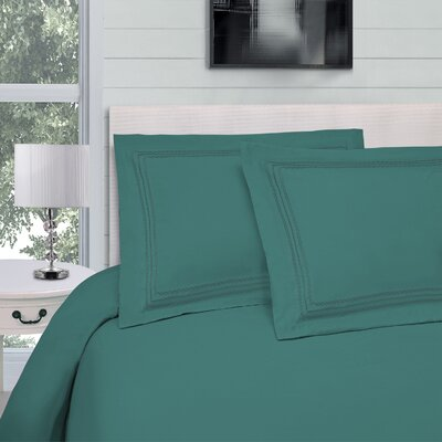 Bilbrey Infinity Embroidered 3 Piece Duvet Cover Set Color: Teal, Size: Full/Queen