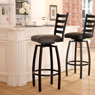Portland 32 Swivel Bar Stool Upholstery: Black