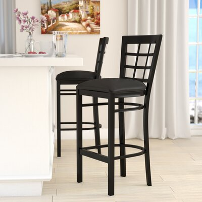 Mapilton Bar Stool (Set of 2) Upholstery: Black Vinyl