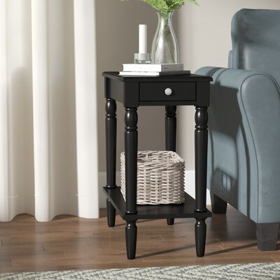Carlisle End Table With Storage Color: Black