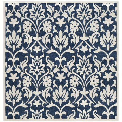 Carman Navy/Ivory Indoor/Outdoor Area Rug Rug Size: Square 7'
