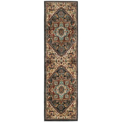 Rasmussen Gray/Red Area Rug Rug Size: Runner 23 x 12