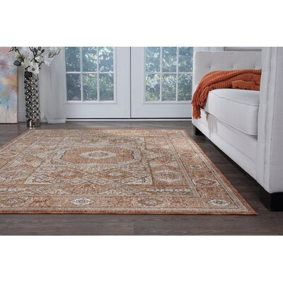 Beryl Traditional Oriental Ivory/Orange Area Rug Rug Size: 93 x 126