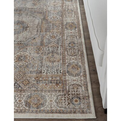Beryl Traditional Ivory/Beige Area Rug Rug Size: 53 x 73