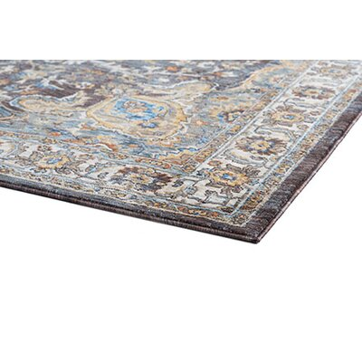 Beryl Traditional Oriental Brown/Blue Area Rug Rug Size: 93 x 126
