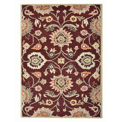 Ansonia Vintage Hand-Tufted Wool Maroon Area Rug Rug Size: Rectangle 5' x 8'