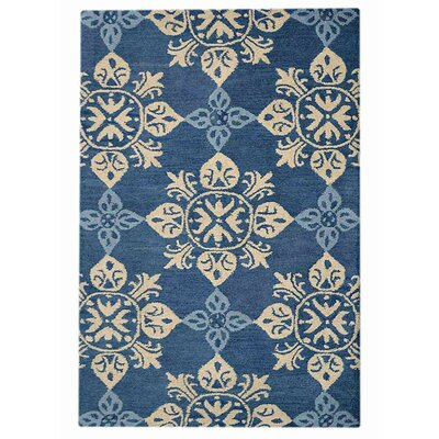 Beauchamp Square Floral Hand-Tufted Wool Blue Area Rug Rug Size: 9 x 12