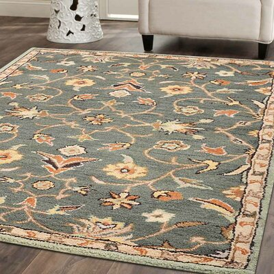 Beaconcrest Vintage Hand-Tufted Wool Green Area Rug Rug Size: 9 x 12