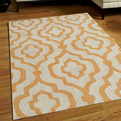 Beamish Hand-Tufted White/Gold Area Rug Rug Size: 4 x 6