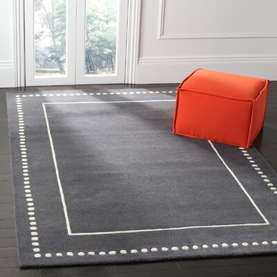 Amundson Hand-Tufted Dark Grey/Ivory Indoor Area Rug Rug Size: 6 x 9