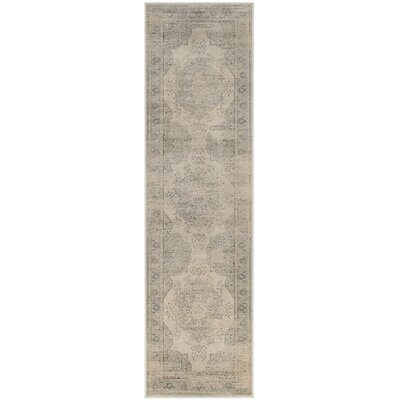 Frith Light Blue / Cream Area Rug Rug Size: Runner 22 x 12