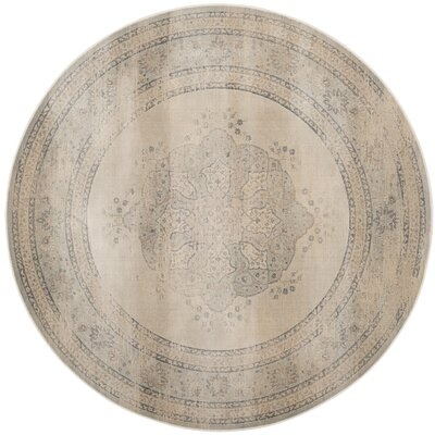 Frith Light Blue / Cream Area Rug Rug Size: Round 6'