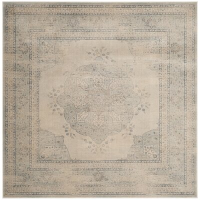 Frith Light Blue / Cream Area Rug Rug Size: Square 6