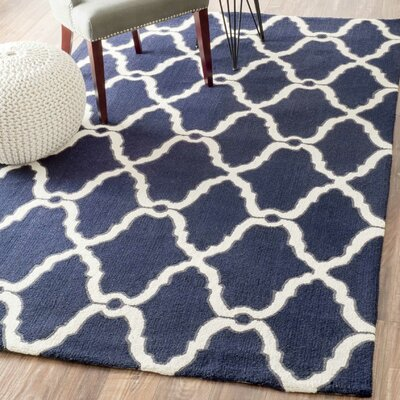 Nesmith Moroccan Hand-Hooked Navy Area Rug Rug Size: Rectangle 6 x 9