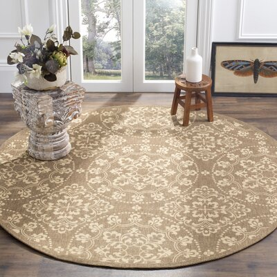 Charing Cross Hand-Loomed Taupe / Natural Area Rug Rug Size: Round 6