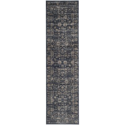 Rindge Dark Blue & Cream Area Rug Rug Size: Runner 22 x 8