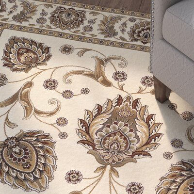 Crabtree Ivory/Brown Area Rug Rug Size: 53 x 76