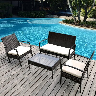 Dashiell 4 Piece Deep Seating Group with Cushion Fabric: White