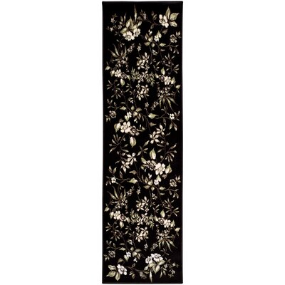 Anson Bloom Black Area Rug Rug Size: Runner 2'7