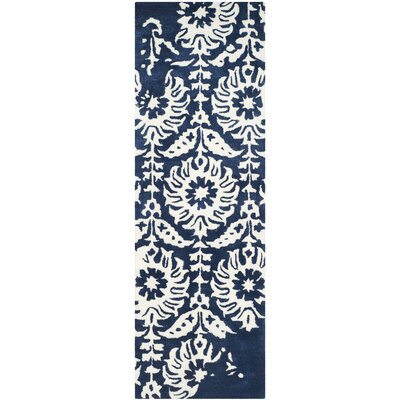 Fernville Hand-Tufted Navy / Ivory Area Rug Rug Size: Runner 23 x 7
