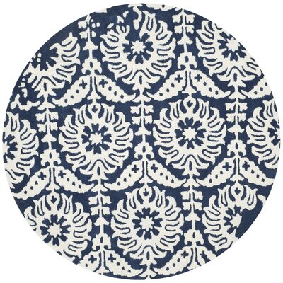 Fernville Hand-Tufted Navy / Ivory Area Rug Rug Size: Round 5