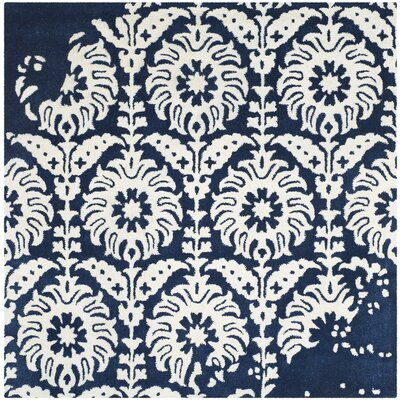 Fernville Hand-Tufted Navy / Ivory Area Rug Rug Size: Square 5