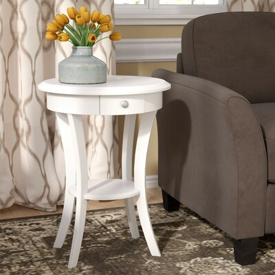 Emington End Table With Storage Color: True White