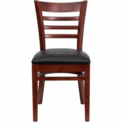 Duprey Wood Side Chair Finish: Walnut, Upholstery: Black