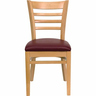 Duprey Wood Side Chair Finish: Natural, Upholstery: Burgundy