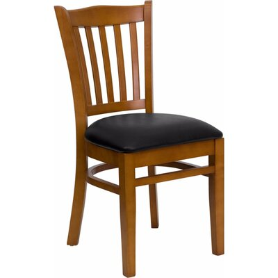 Duprey Solid Woood Side Chair Finish: Mahogany, Upholstery: Black